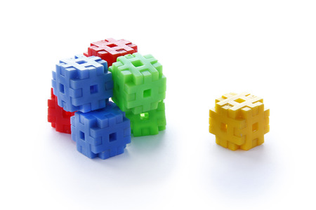 disperse: Colourful of construction toys, abstract of construction, stable  organization, stable business
