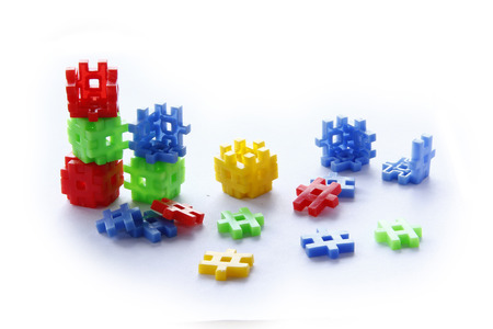 collapsing: Colourful of construction toys, abstract of construction, organization collapsing, business collapsing Stock Photo