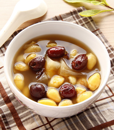 Ginkgo in syrub with Chinese Monkey Apple, Chinese dessert photo