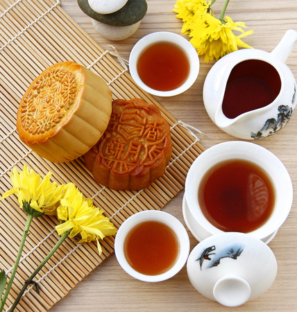 Mooncake and tea,Chinese mid autumn festival food. Editorial