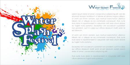 songkran: Abstract of Songkran Festival: The Water Splash Festival. Illustration