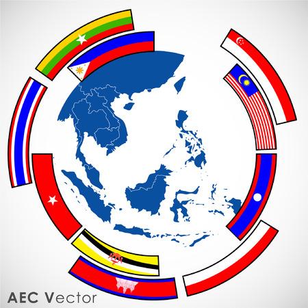 Abstract of Asean Economic Community, AEC. Illustration Vector