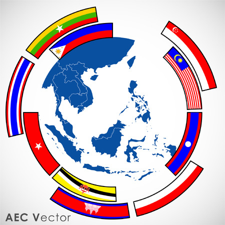 asean: Abstract of Asean Economic Community, AEC. Illustration