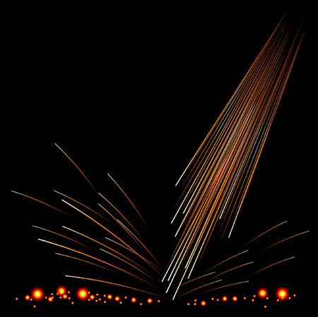 fervor: Fire sparking with Red hot Embers. Illustration