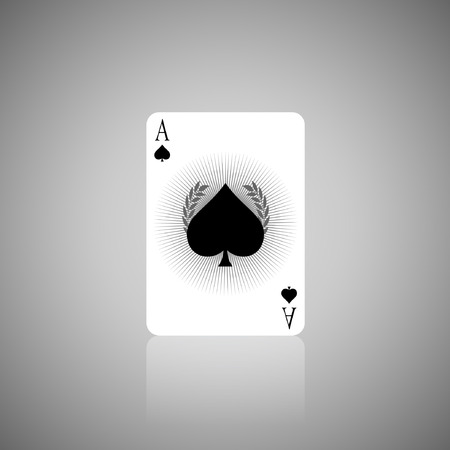 heart suite: The Number A Spade in Playing card.Illustration Illustration