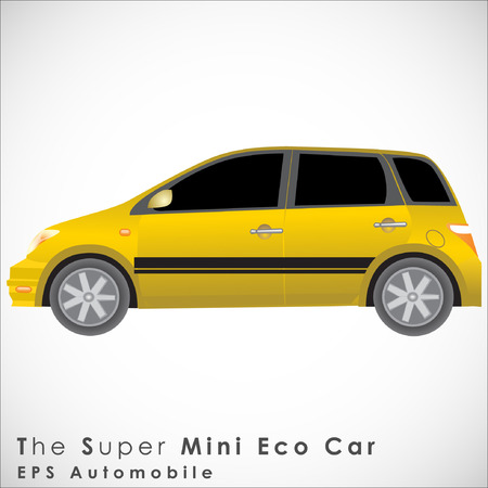 smallest: A Yellow Mini Car.Illustration