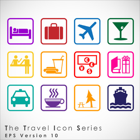 Travel and tourism icon set. Simplus series. Illustration