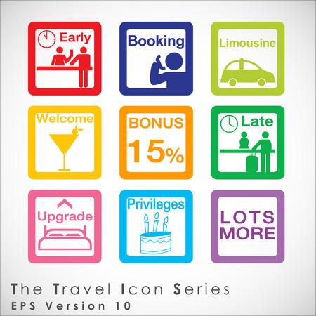 privileges: Travel and tourism icon set. Simplus series. Illustration