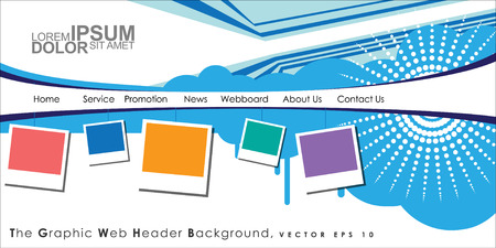 Vector Header Horizontal Web Menu Design. Illustration