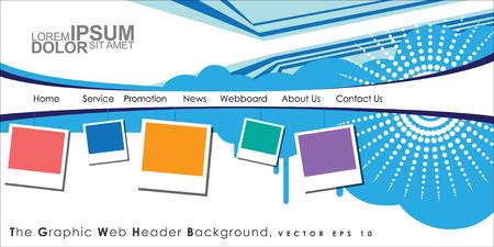 Vector Header Horizontal Web Menu Design. Illustration Vector