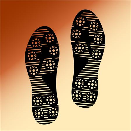 dirty feet: Black Imprint soles shoes, Illustration Illustration