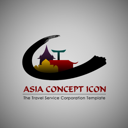iconillustration: Abstract Icon template. Asia concept. Tourism and travel icon.Illustration