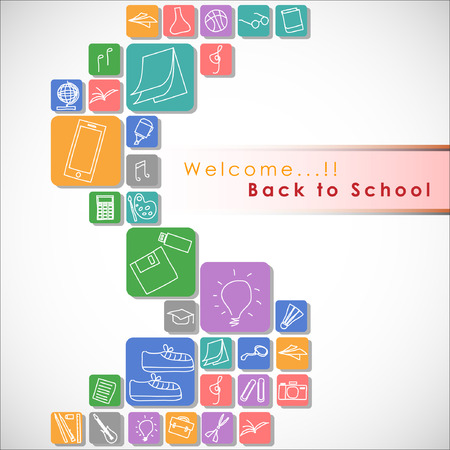 exact science: Welcome back to school Vector Background. Illustration, EPS 10.