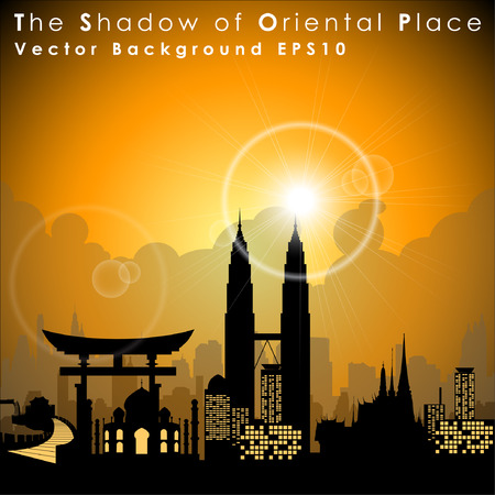 bigben: Worlds famous landmarks and monuments. Oriental Place. Vector Illustration, EPS 10.