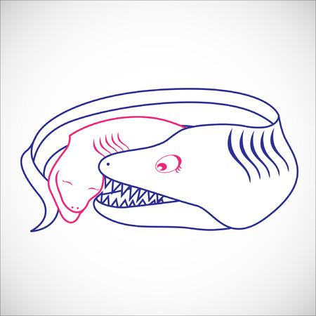 cling: Nursing Animal Cartoon.Illustration, EPS 10