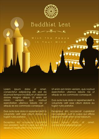 moine: Carême bouddhique maquette graphique. Illustration