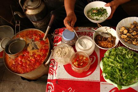 베트남의 하노이 고대 도시에서 길거리 음식 카페의 평면도에. 스톡 콘텐츠