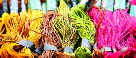 silk thread: Colorful raw silk thread background. Colorful concept.
