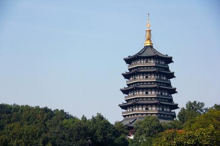 harmonies: Six  harmonies pagoda architecture Scenery, six  harmonies pagoda is the famous tourist  attraction in hangzhou Stock Photo