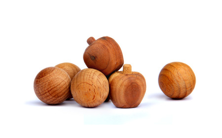constructed: Variet of Wooden Balls were constructed on white background.