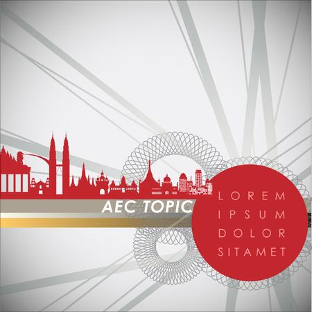경제 공동체, AEC의 초록. 벡터 일러스트 레이션
