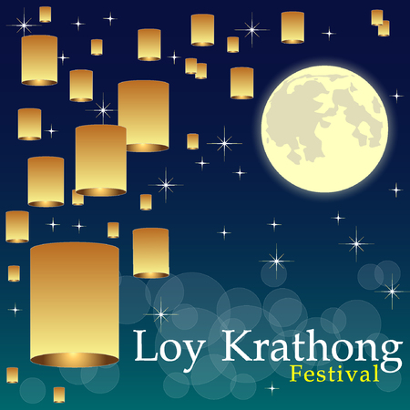 lanna: Abstract of Loy-Krathong Festival, illustration