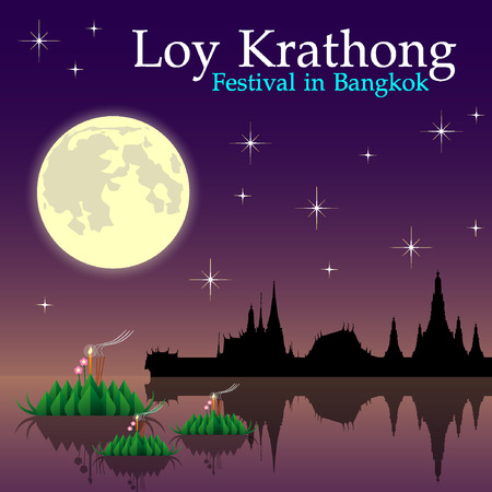 Abstract of Loy-Krathong Festival, illustration eps 10. Illustration