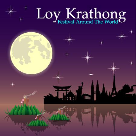 loy krathong: Abstract of Loy-Krathong Festival, illustration