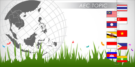 aec: Abstract of Asian Economic Community, AEC. Vector and Illustration