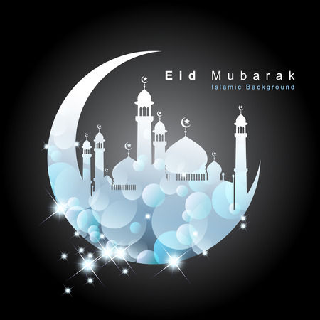 mideast: Arabic Islamic calligraphy of Eid Mubarak. Background. Vector and Illustration, EPS 10.