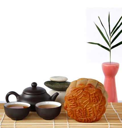 Mooncake, Chinese mid autumn festival food on White Background. Dessert Concept.