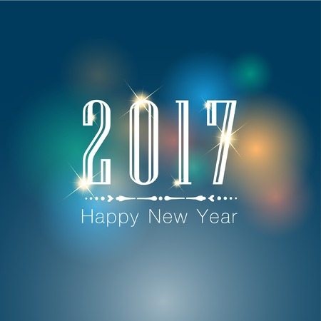 hooray: Abstract of Happy New Year 2017. Vector and Illustration, EPS 10.