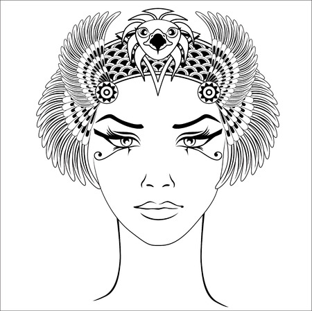 Hand-drawn vintage illustration of the ancient Cleopatras head. Vector and illustration, eps 10. Illustration