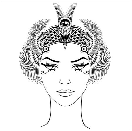 Handgezeichnete Vintage Illustration des Kopfes der alten Kleopatra. Vektor und Illustration, EPS 10. Standard-Bild - 82734938