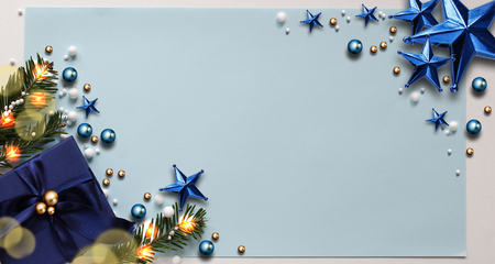 Abstract Christmas Background. Christmas Frame Concept for Celebration with Blue Copy Space.