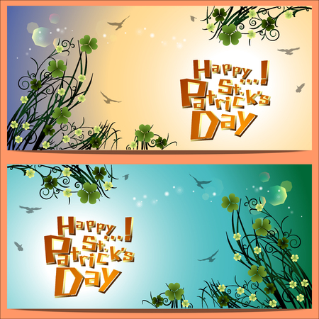Abstrackt of St.Patrick's Day Background. Card or Banner Template Design. Vector and Illustration, EPS 10.