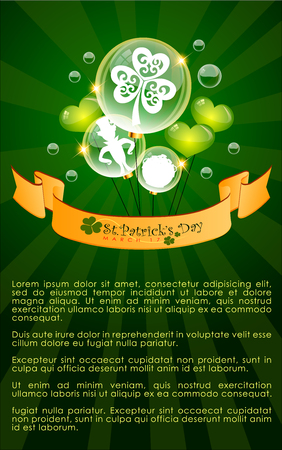 Abstract illustration  of St.Patricks Day Background with shamrock . Vector and Illustration
