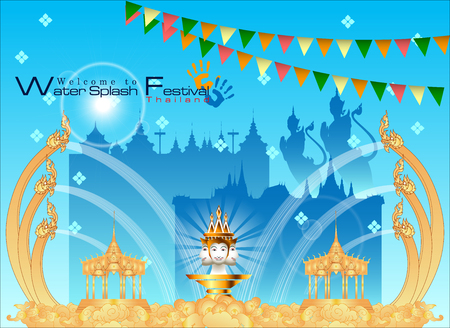 Abstract background Songkran Festival: The Water Splash Festival of Thailand vector illustration.