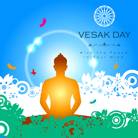 Abstract of Vesak Day, The Meditation Day of The World. Vector and Illustration, EPS 10.