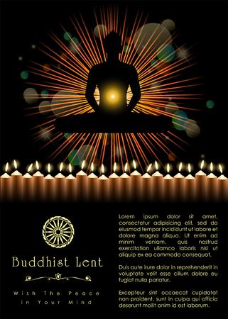 Modèle d'illustration de carême bouddhiste. Vecteur et illustration