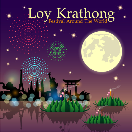 Abstract of Loy-Krathong Festival. Thailand Culture. Vector and illustration, eps 10. Ilustração