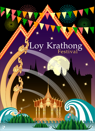 Abstract of Loy-Krathong Festival. Thailand Culture. Vector and illustration, eps 10. Illusztráció