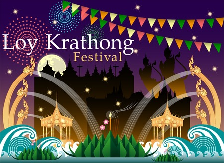 Abstract of Loy-Krathong Festival. Thailand Culture. Vector and illustration, eps 10. Illustration