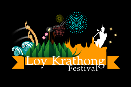 Abstract of Loy-Krathong Festival. Thailand Culture. Vector and illustration, eps 10.