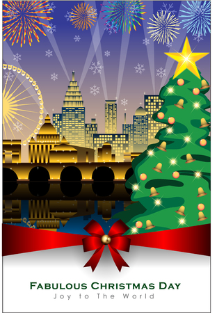 Abstract of Christmas Background and Template. Christmas Tree and Party Concept. Vector and Illustration, EPS 10.