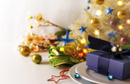 Abstract of Christmas Background. Navy Blue Christmas Giftbox Concept for Composition with Celebration Copy Space.