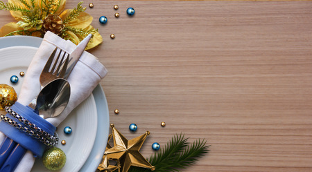 Abstract of Christmas Background. Christmas Tableware Concept for 