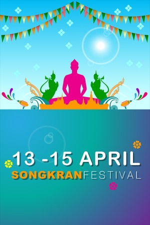 Abstract Background Songkran Festival: The Water Splash Festival of Thailand. Vector and Illustration, EPS 10
