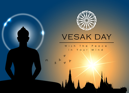 Abstract of Vesak Day, The Meditation Day of The World. Vector and Illustration  イラスト・ベクター素材