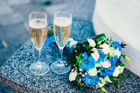 rendezvous: Romantic rendezvous with champagne and flowers.